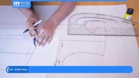 خیاطی مولر-آموزش خیاطی با الگو-آموزش کشیدن الگوی یقه انگلیسی