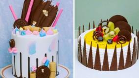 آموزش تزیین کیک تولد : تزیین کیک و دسر شکلاتی