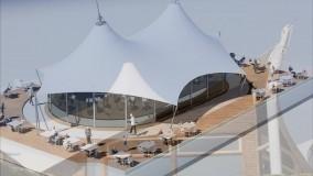 سقف خیمه ای مجتمع پذیرایی-سایبان خیمه ای رستوران-فروش سقف خیمه ای تالار-حقانی09380039391